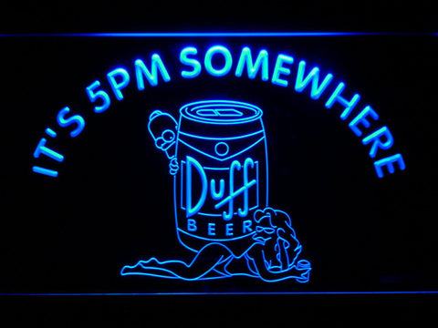 Image of Duff Simpsons It's 5pm Somewhere LED Neon Sign - Blue - SafeSpecial