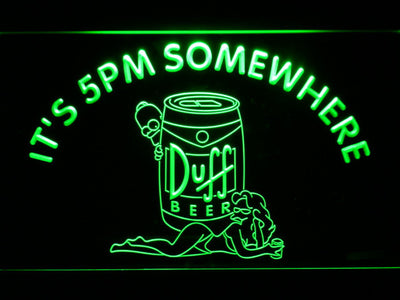 Duff Simpsons It's 5pm Somewhere LED Neon Sign - Green - SafeSpecial
