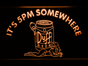 Duff Simpsons It's 5pm Somewhere LED Neon Sign - Orange - SafeSpecial
