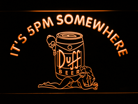 Image of Duff Simpsons It's 5pm Somewhere LED Neon Sign - Orange - SafeSpecial