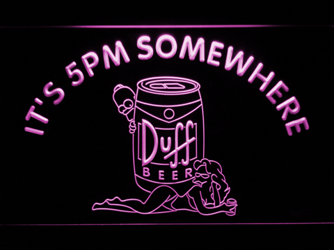 Image of Duff Simpsons It's 5pm Somewhere LED Neon Sign - Purple - SafeSpecial