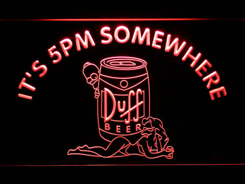 Image of Duff Simpsons It's 5pm Somewhere LED Neon Sign - Red - SafeSpecial