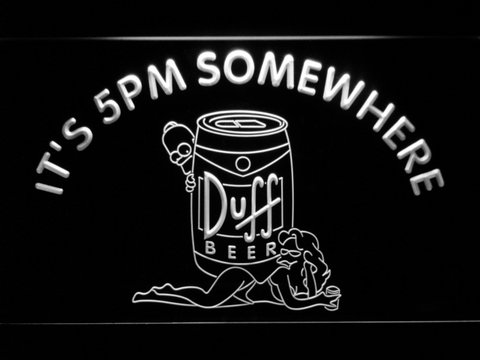 Image of Duff Simpsons It's 5pm Somewhere LED Neon Sign - White - SafeSpecial