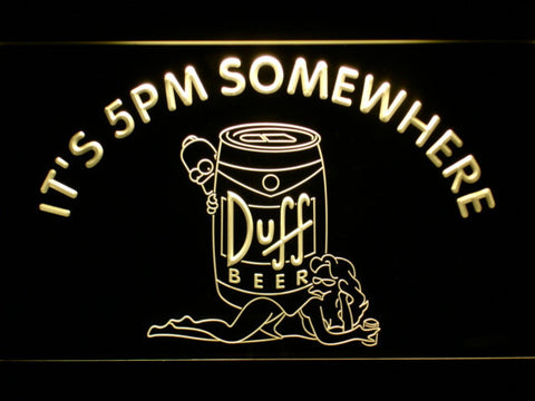 Image of Duff Simpsons It's 5pm Somewhere LED Neon Sign - Yellow - SafeSpecial