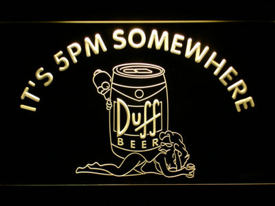 Duff Simpsons It's 5pm Somewhere LED Neon Sign - Yellow - SafeSpecial