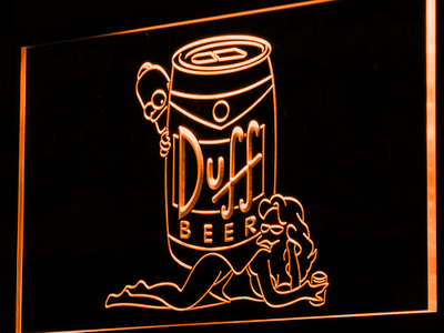 Duff Simpsons LED Neon Sign - Orange - SafeSpecial