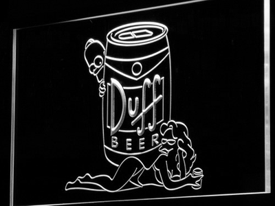 Duff Simpsons LED Neon Sign - White - SafeSpecial