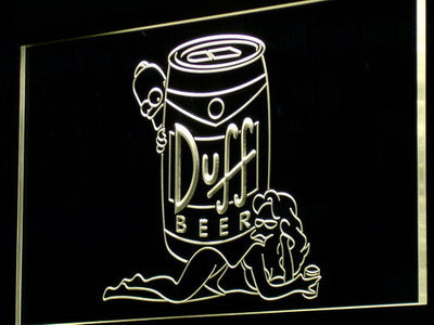 Duff Simpsons LED Neon Sign - Yellow - SafeSpecial