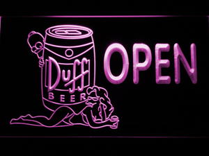 Duff Simpsons Open LED Neon Sign - Purple - SafeSpecial