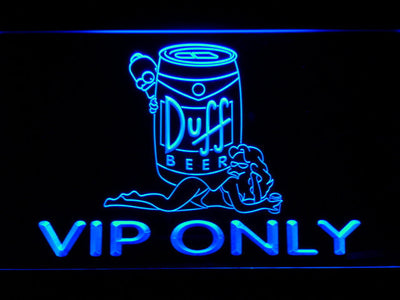 Duff Simpsons VIP Only LED Neon Sign - Blue - SafeSpecial