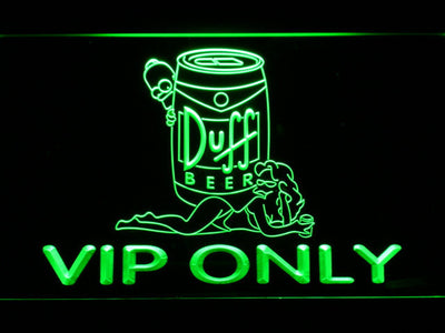 Duff Simpsons VIP Only LED Neon Sign - Green - SafeSpecial