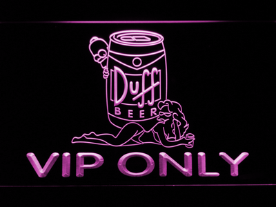 Duff Simpsons VIP Only LED Neon Sign - Purple - SafeSpecial