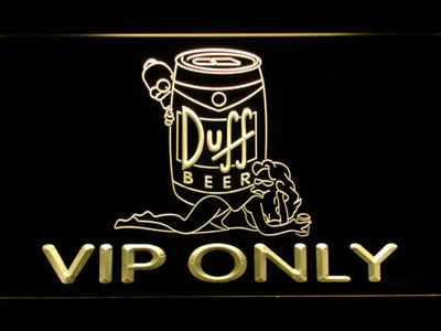 Duff Simpsons VIP Only LED Neon Sign - Yellow - SafeSpecial