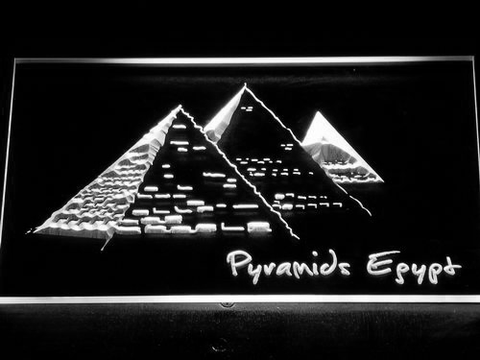Image of Egypt Pyramids LED Neon Sign - White - SafeSpecial