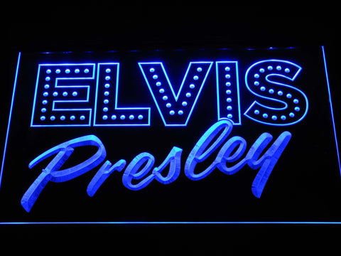 Image of Elvis Presley Old School LED Neon Sign - Blue - SafeSpecial