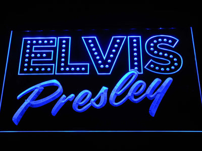 Elvis Presley Old School LED Neon Sign - Blue - SafeSpecial