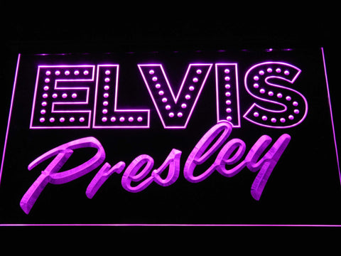 Image of Elvis Presley Old School LED Neon Sign - Purple - SafeSpecial