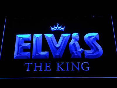 Elvis Presley The King LED Neon Sign - Blue - SafeSpecial