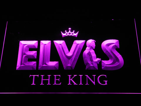 Image of Elvis Presley The King LED Neon Sign - Purple - SafeSpecial