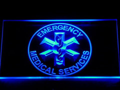Image of Emergency Medical Services LED Neon Sign - Blue - SafeSpecial