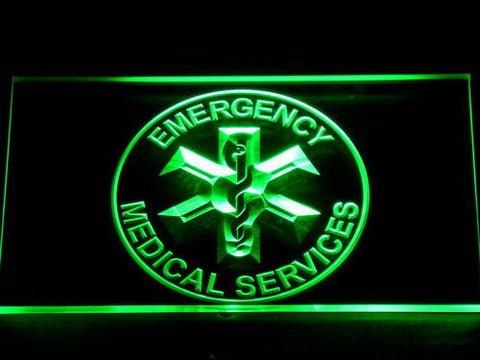 Image of Emergency Medical Services LED Neon Sign - Green - SafeSpecial
