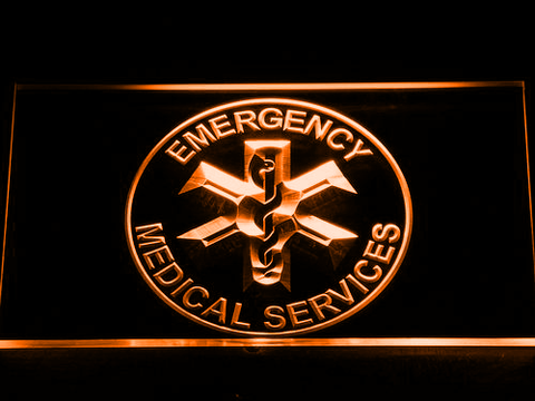 Image of Emergency Medical Services LED Neon Sign - Orange - SafeSpecial