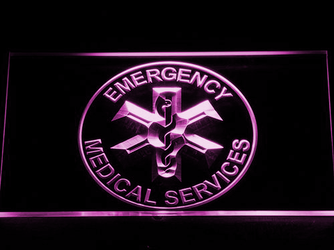 Image of Emergency Medical Services LED Neon Sign - Purple - SafeSpecial