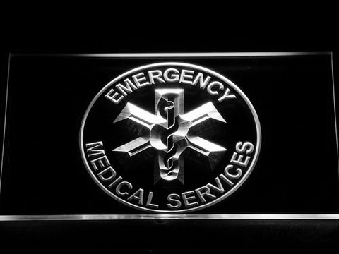 Image of Emergency Medical Services LED Neon Sign - White - SafeSpecial