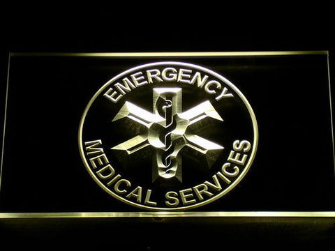 Emergency Medical Services LED Neon Sign - Yellow - SafeSpecial