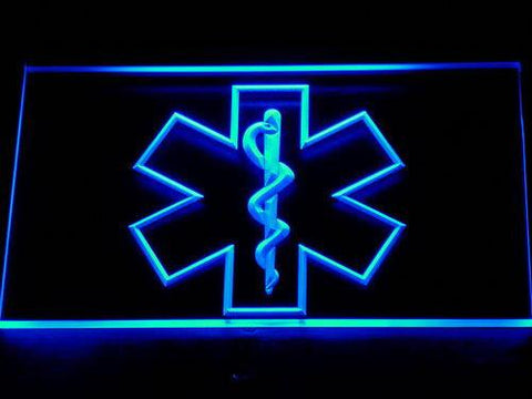 Image of Emergency Medical Services Star of Life LED Neon Sign - Blue - SafeSpecial
