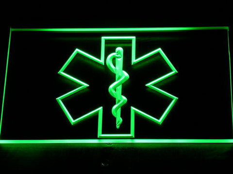 Image of Emergency Medical Services Star of Life LED Neon Sign - Green - SafeSpecial