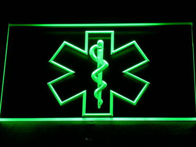 Emergency Medical Services Star of Life LED Neon Sign - Green - SafeSpecial