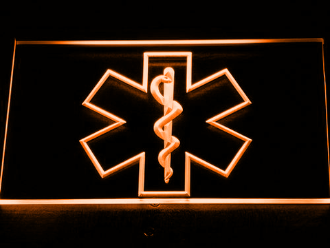 Image of Emergency Medical Services Star of Life LED Neon Sign - Orange - SafeSpecial