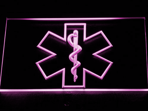 Image of Emergency Medical Services Star of Life LED Neon Sign - Purple - SafeSpecial