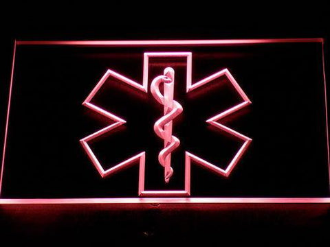 Image of Emergency Medical Services Star of Life LED Neon Sign - Red - SafeSpecial