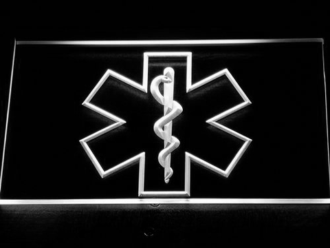 Emergency Medical Services Star of Life LED Neon Sign - White - SafeSpecial
