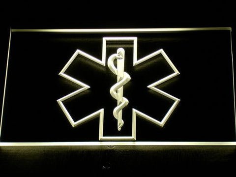 Image of Emergency Medical Services Star of Life LED Neon Sign - Yellow - SafeSpecial
