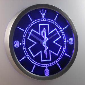 EMS Star of Life LED Neon Wall Clock - Blue - SafeSpecial