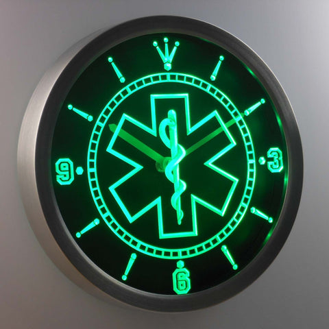 Image of EMS Star of Life LED Neon Wall Clock - Green - SafeSpecial