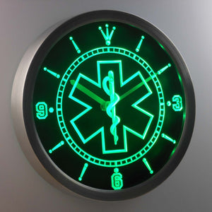 EMS Star of Life LED Neon Wall Clock - Green - SafeSpecial