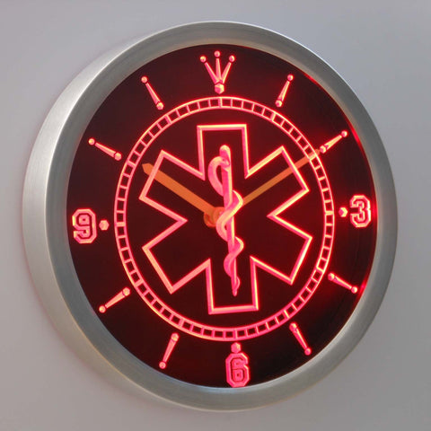 Image of EMS Star of Life LED Neon Wall Clock - Red - SafeSpecial