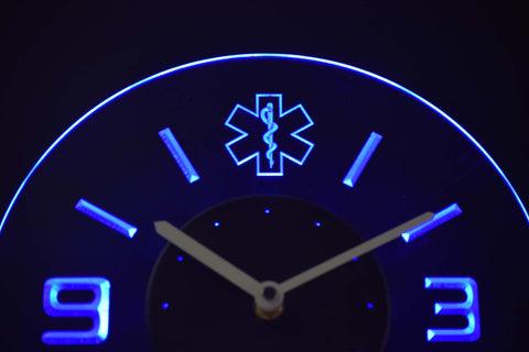 Image of EMS Star of Life Modern LED Neon Wall Clock - Blue - SafeSpecial