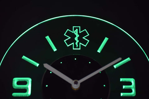 Image of EMS Star of Life Modern LED Neon Wall Clock - Green - SafeSpecial