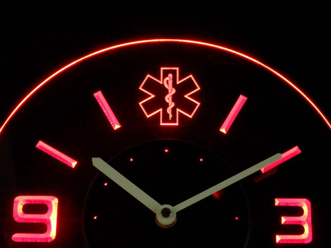 Image of EMS Star of Life Modern LED Neon Wall Clock - Red - SafeSpecial