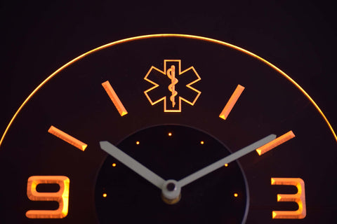 EMS Star of Life Modern LED Neon Wall Clock - Yellow - SafeSpecial