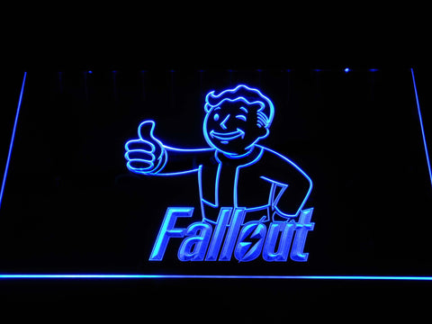 Image of Fallout Vault Boy LED Neon Sign - Blue - SafeSpecial