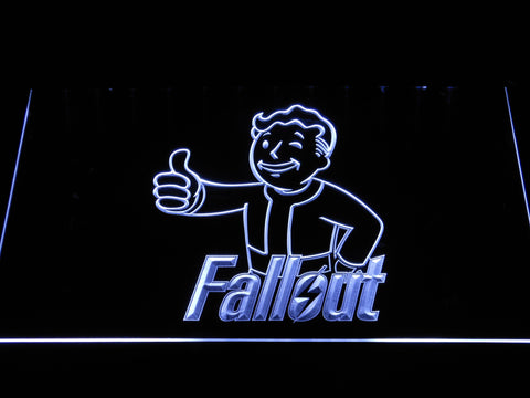 Fallout Vault Boy LED Neon Sign - White - SafeSpecial