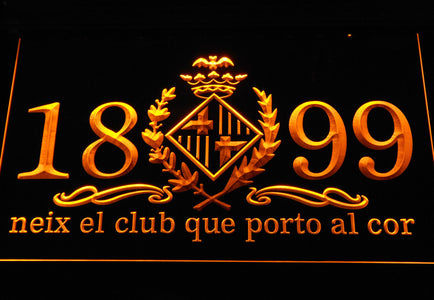 FC Barcelona 1899 Chant LED Neon Sign - Legacy Edition - Yellow - SafeSpecial