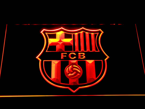FC Barcelona Crest LED Neon Sign - Orange - SafeSpecial