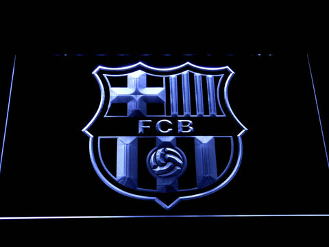 FC Barcelona Crest LED Neon Sign - White - SafeSpecial